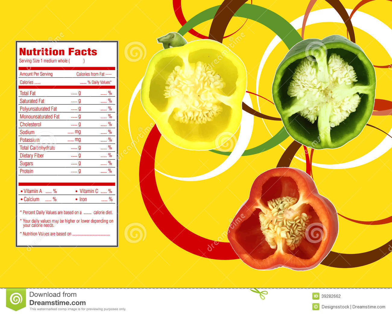 sweet bell pepper nutrition facts stock vector - illustration of