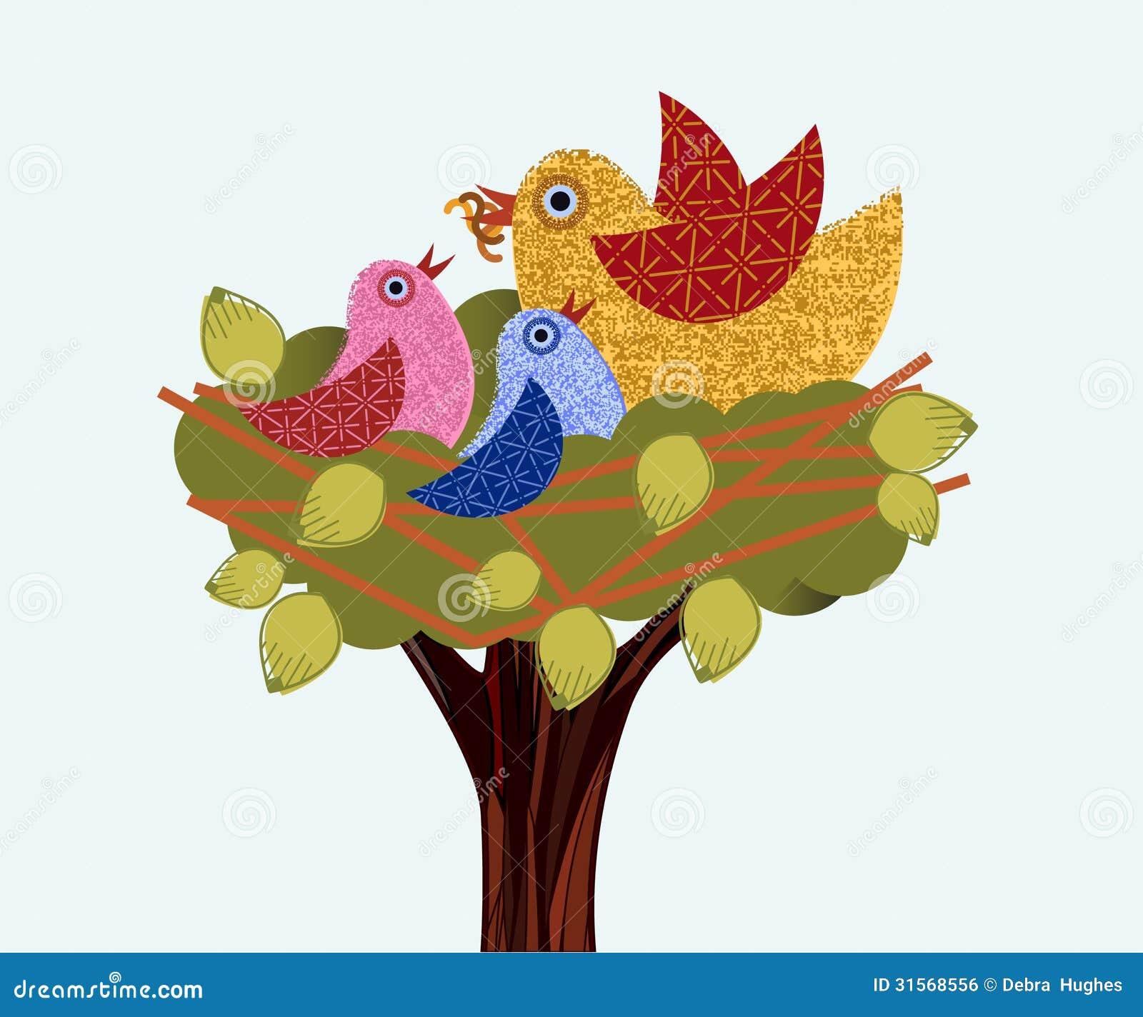 Sweet birds in a tree mama feeding babies