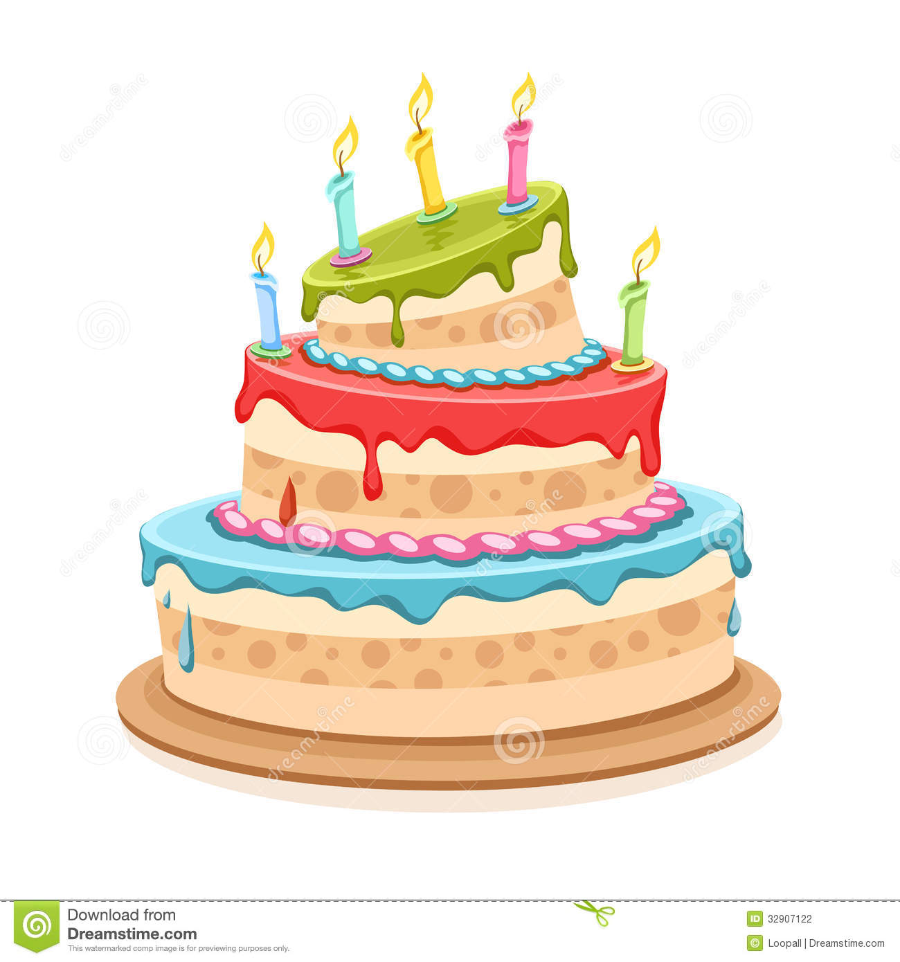 Sweet Birthday Cake With Candles Stock Vector Illustration Of