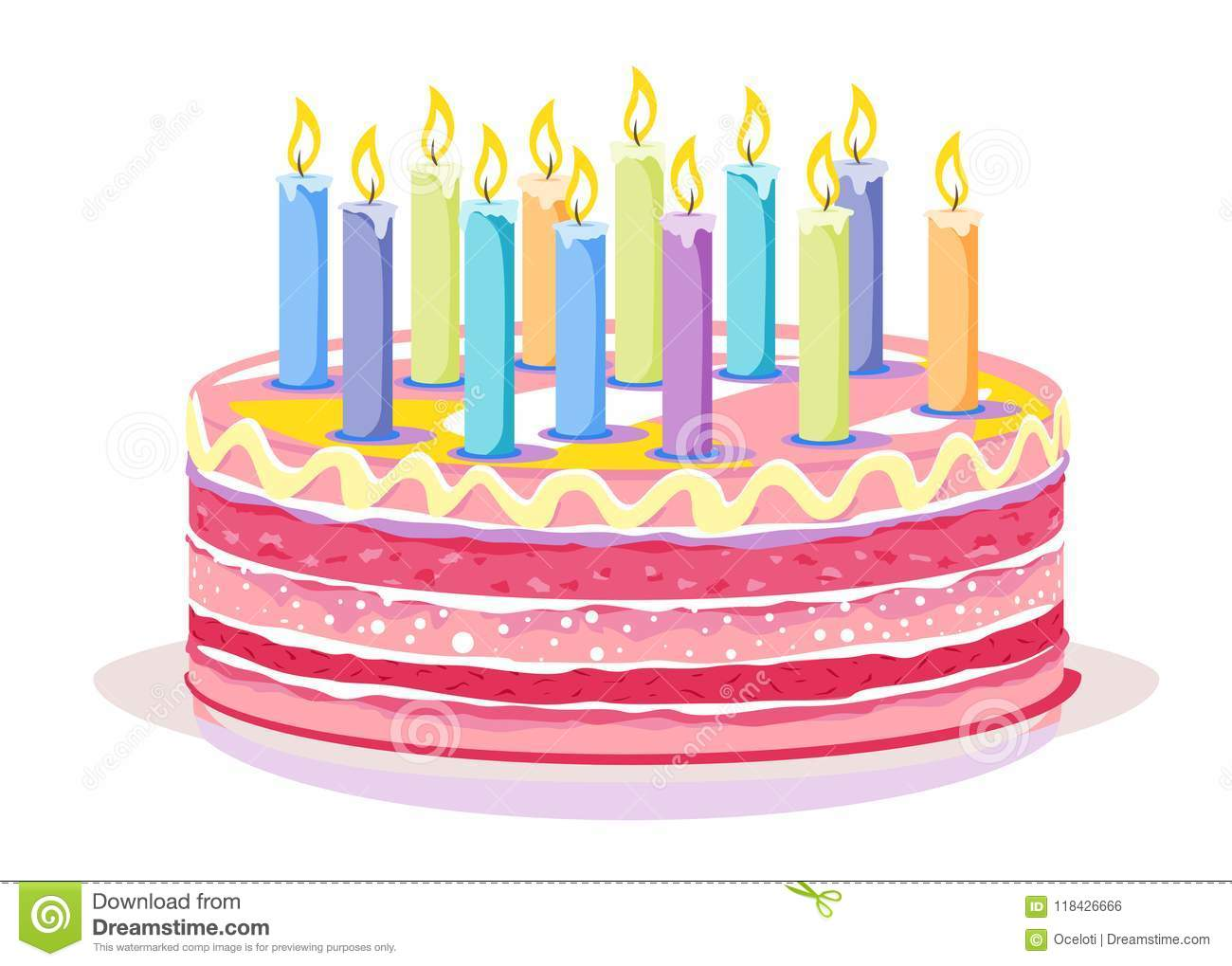 One Big Pink Sweet Birthday Cake With Many Candles Isolated