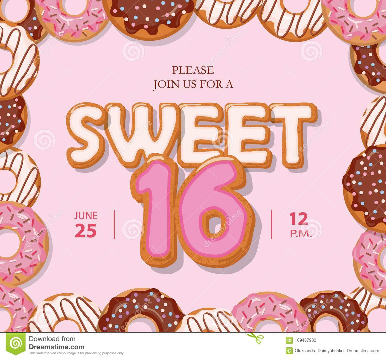 Sweet 16 Birthday Card. Cute Cartoon Letters And Donut Frame. Pastel ...