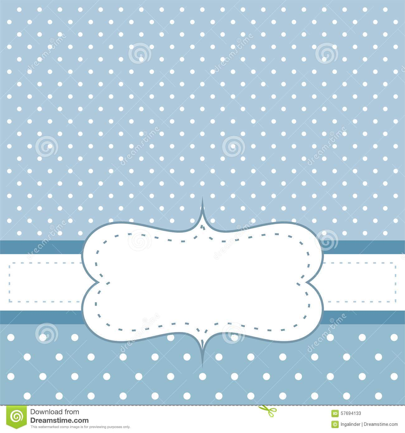 Sweet Blue Dots Vector Card Or Invitation With White Polka Dots