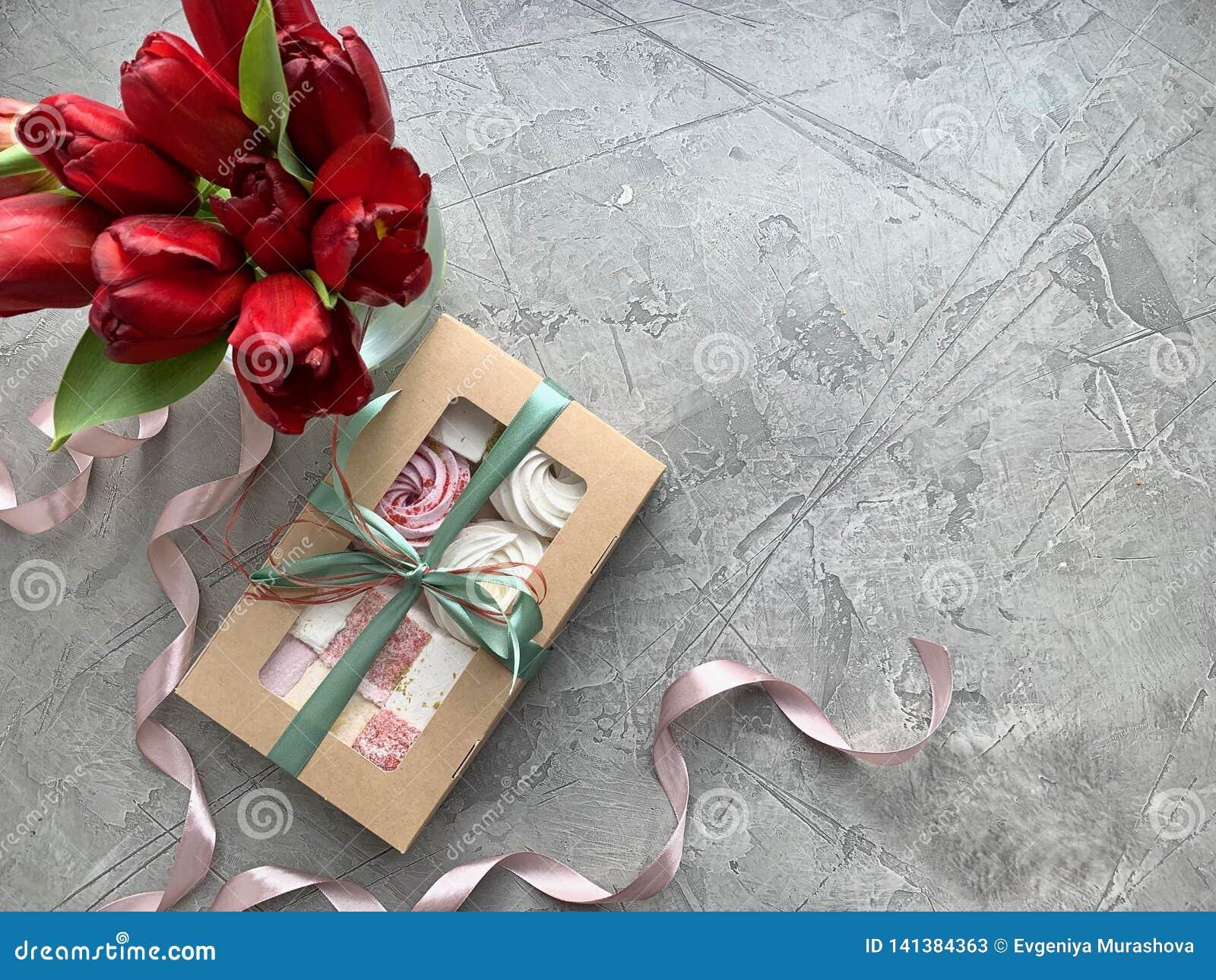 Sweet box with marshmallow, handmade gift.Flat lay food