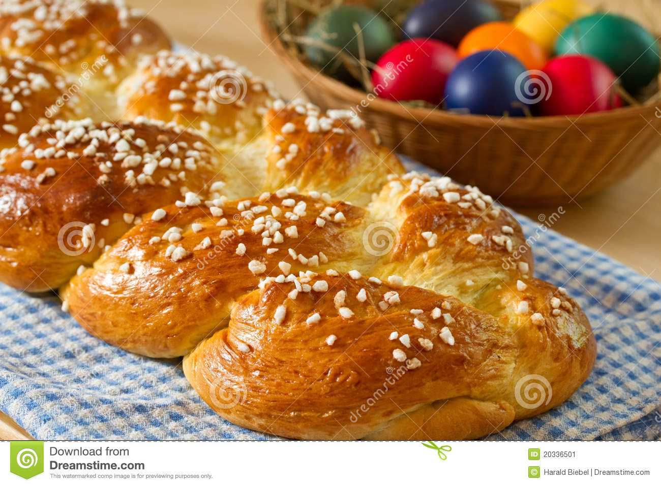 Sweet Braided Bread With Easter Eggs Stock Image - Image: 20336501