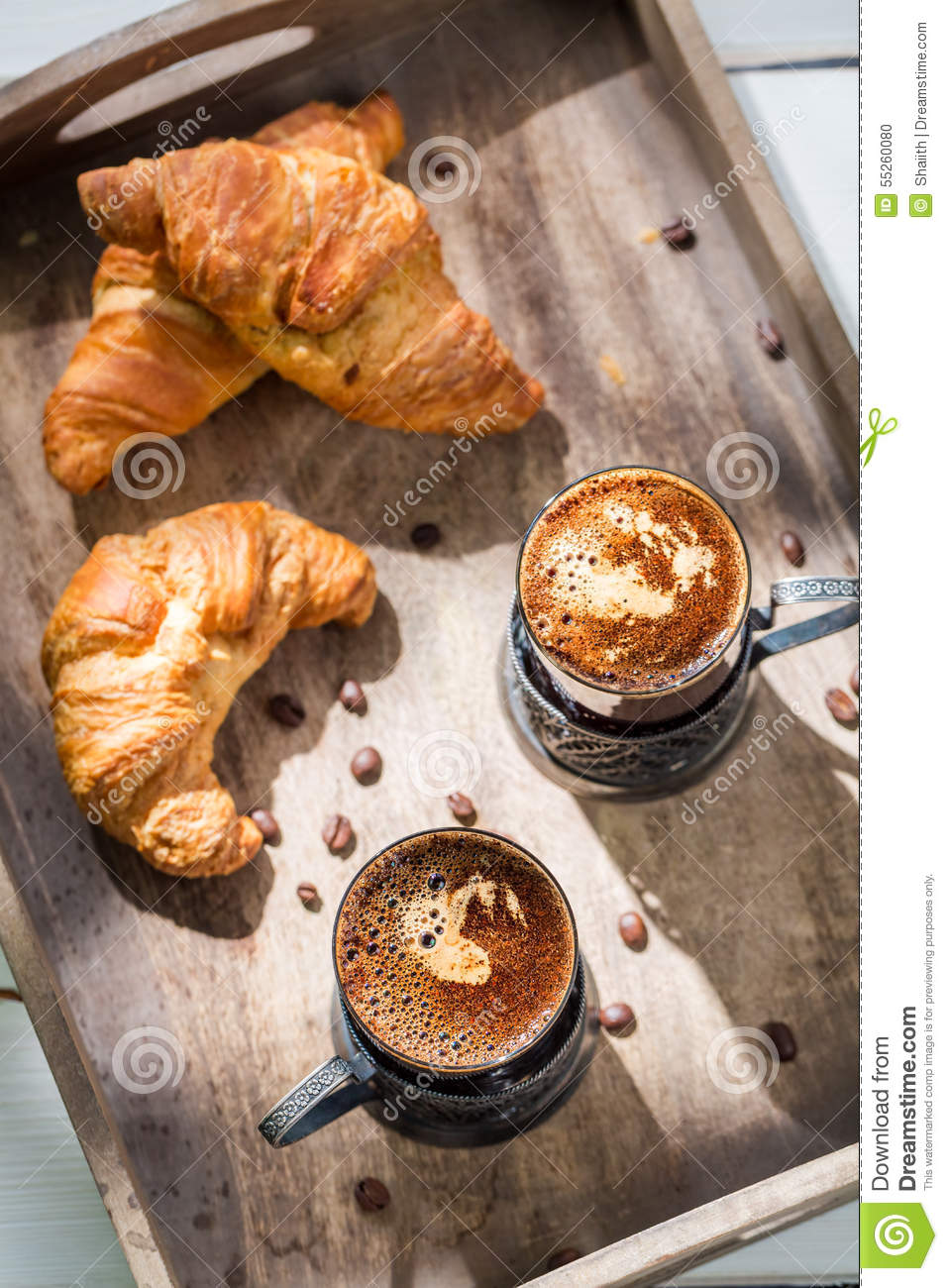 Sweet Breakfast With Fresh Croissant And Coffee Stock
