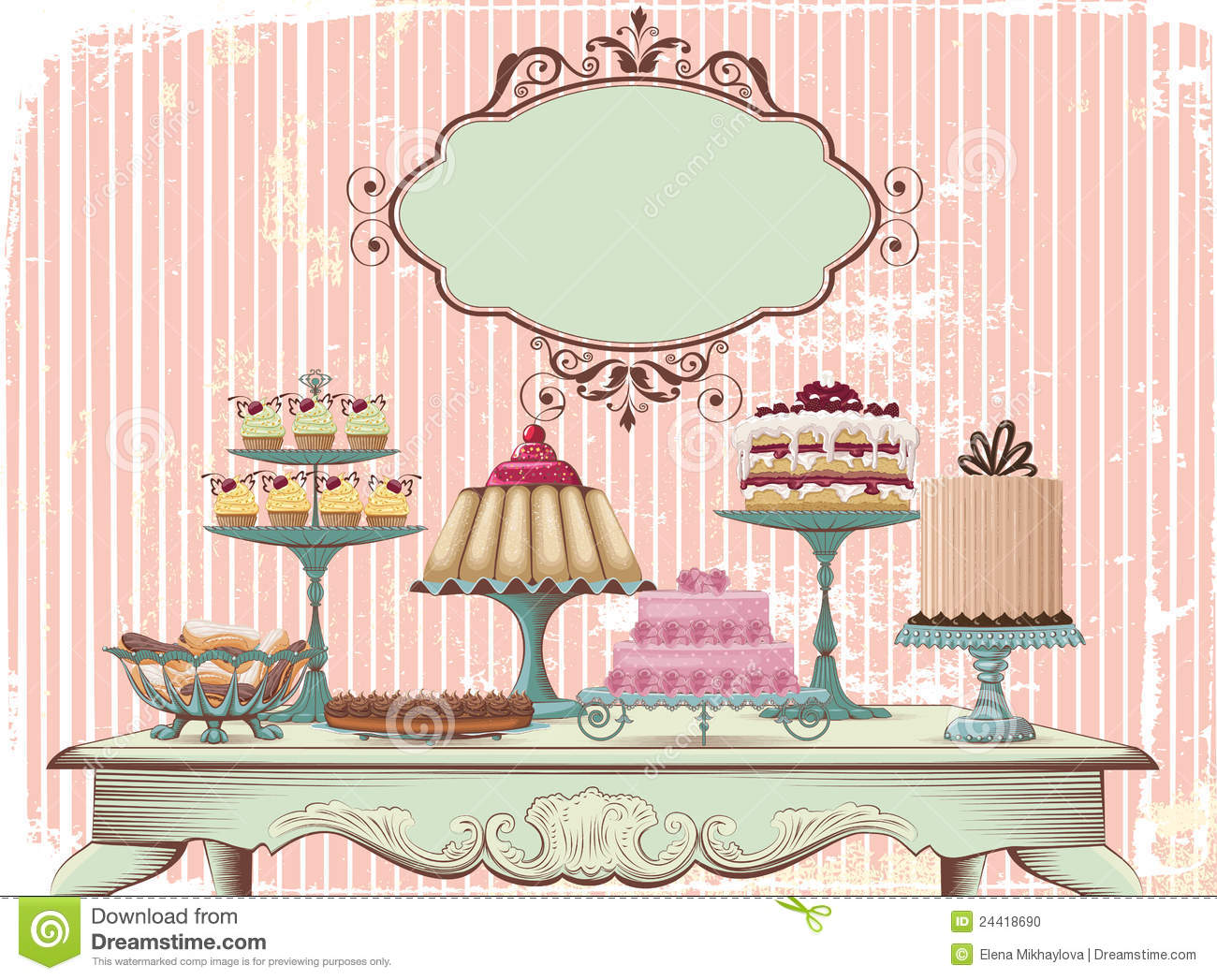 Sweet Buffet Stock Vector Illustration Of Pastry