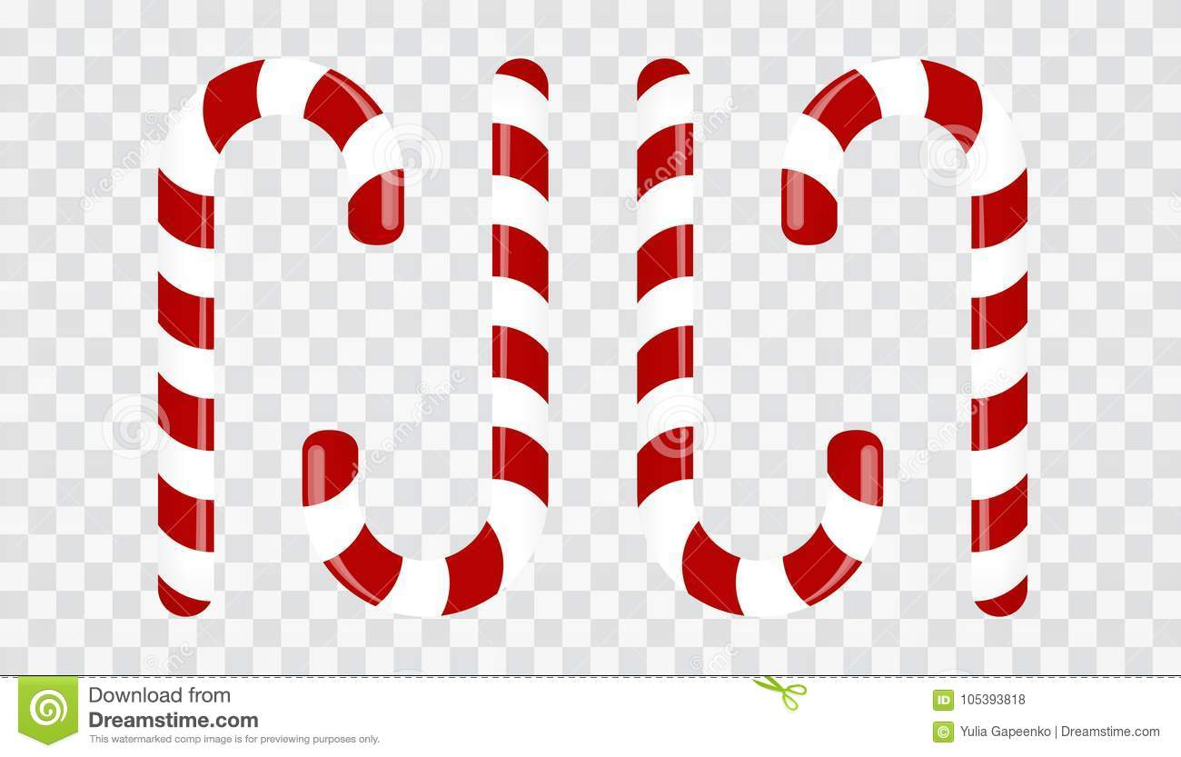 sweet candy cane on a transparent background decoration for the new year vector illustration