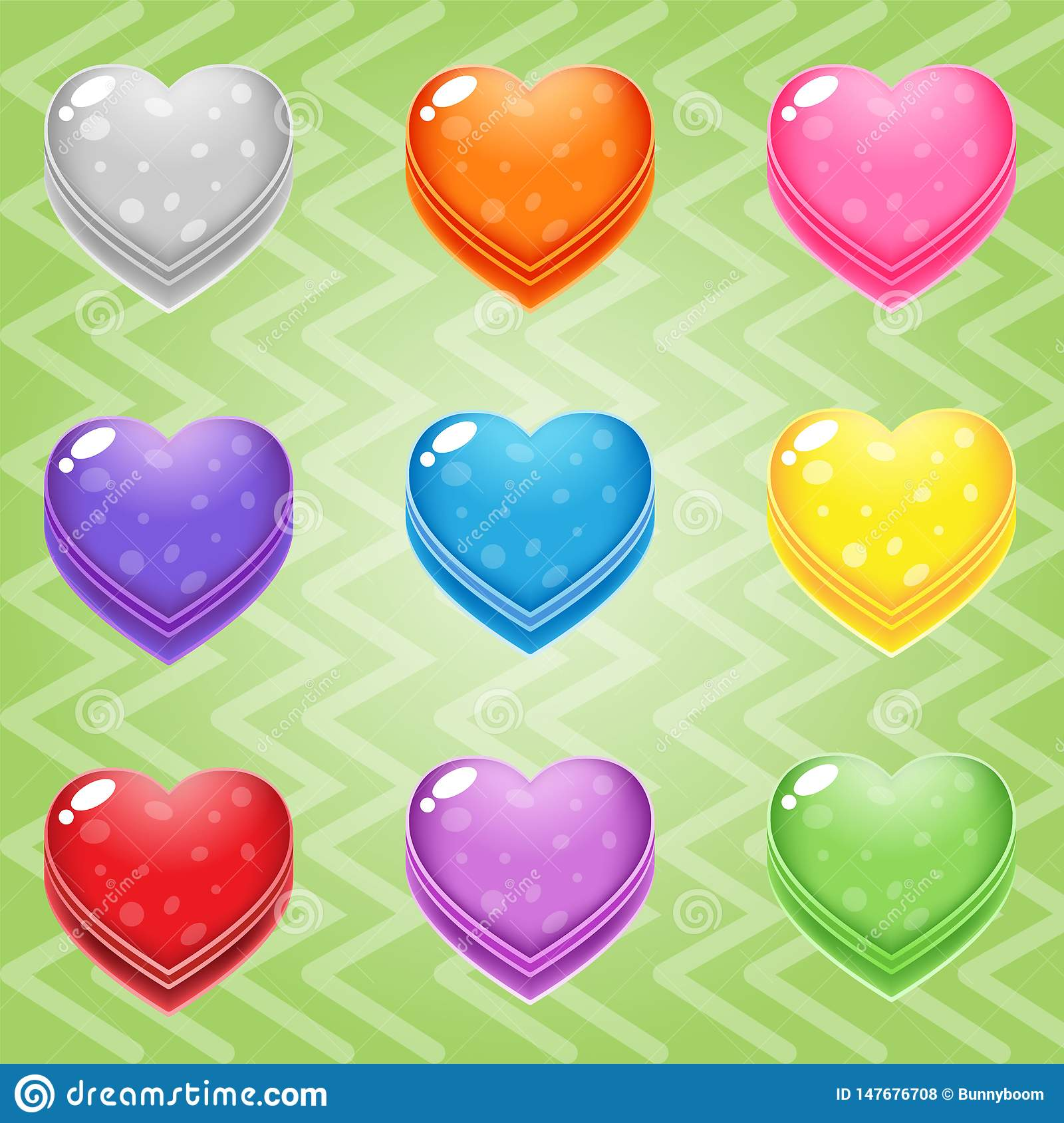 Sweet candy match3 Heart block puzzle button glossy jelly.