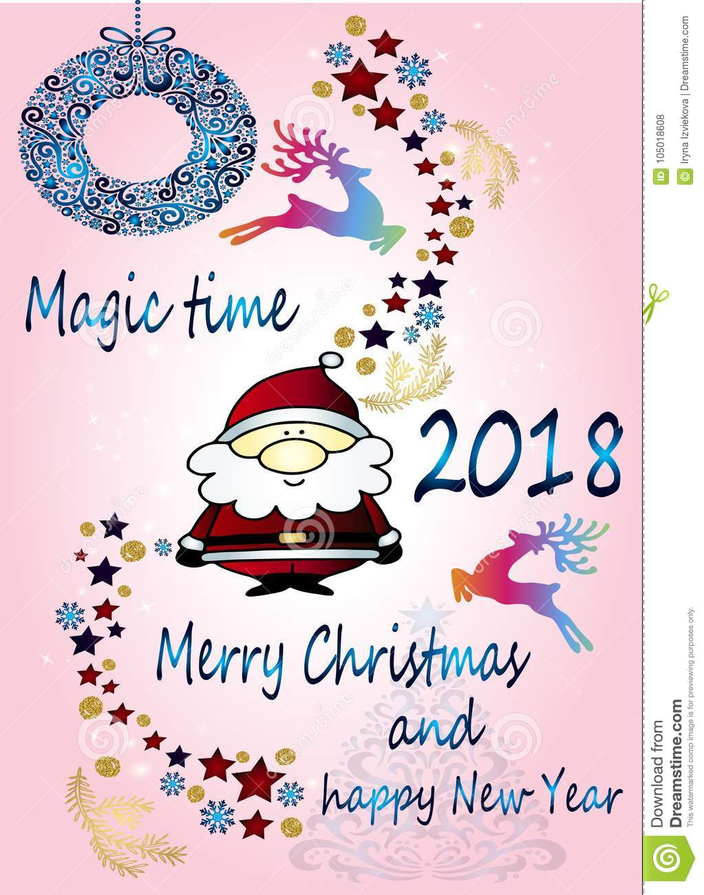 sweet cartoon greeting card happy new year and merry christmas bright sketch of santa