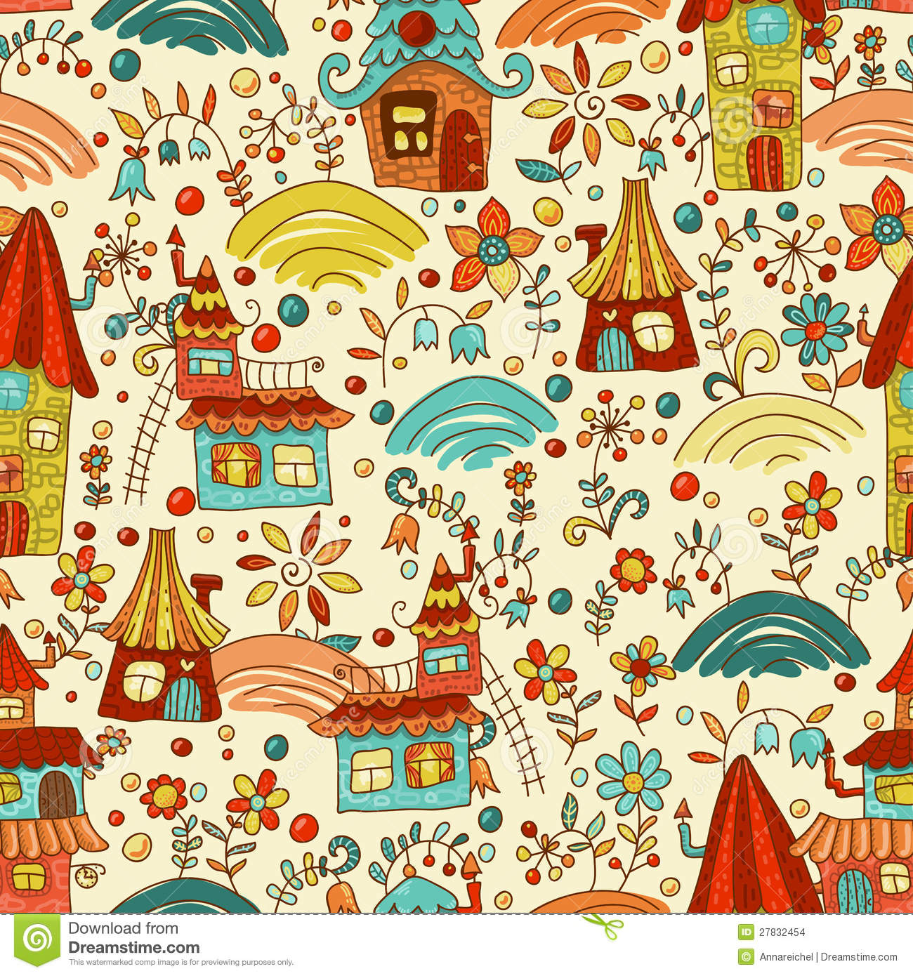 Sweet cartoon homes seamless pattern stock illustration for Wallpaper home cartoon