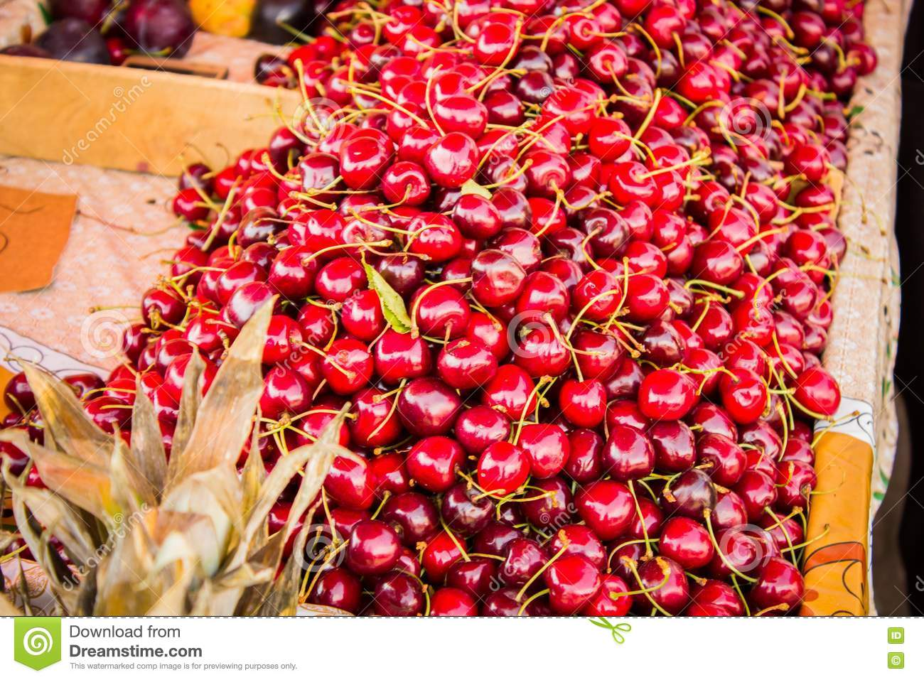 Sweet cherries at the counter