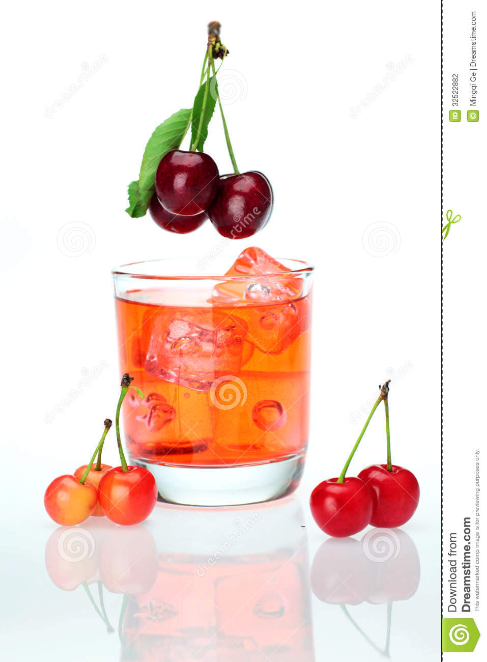 Sweet Cherries And A Cup Of Cherry Juice Stock Photography - Image ...
