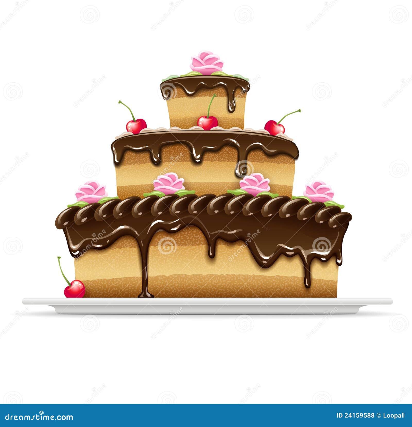 Sweet Chocolate Cake For Birthday Royalty Free Stock