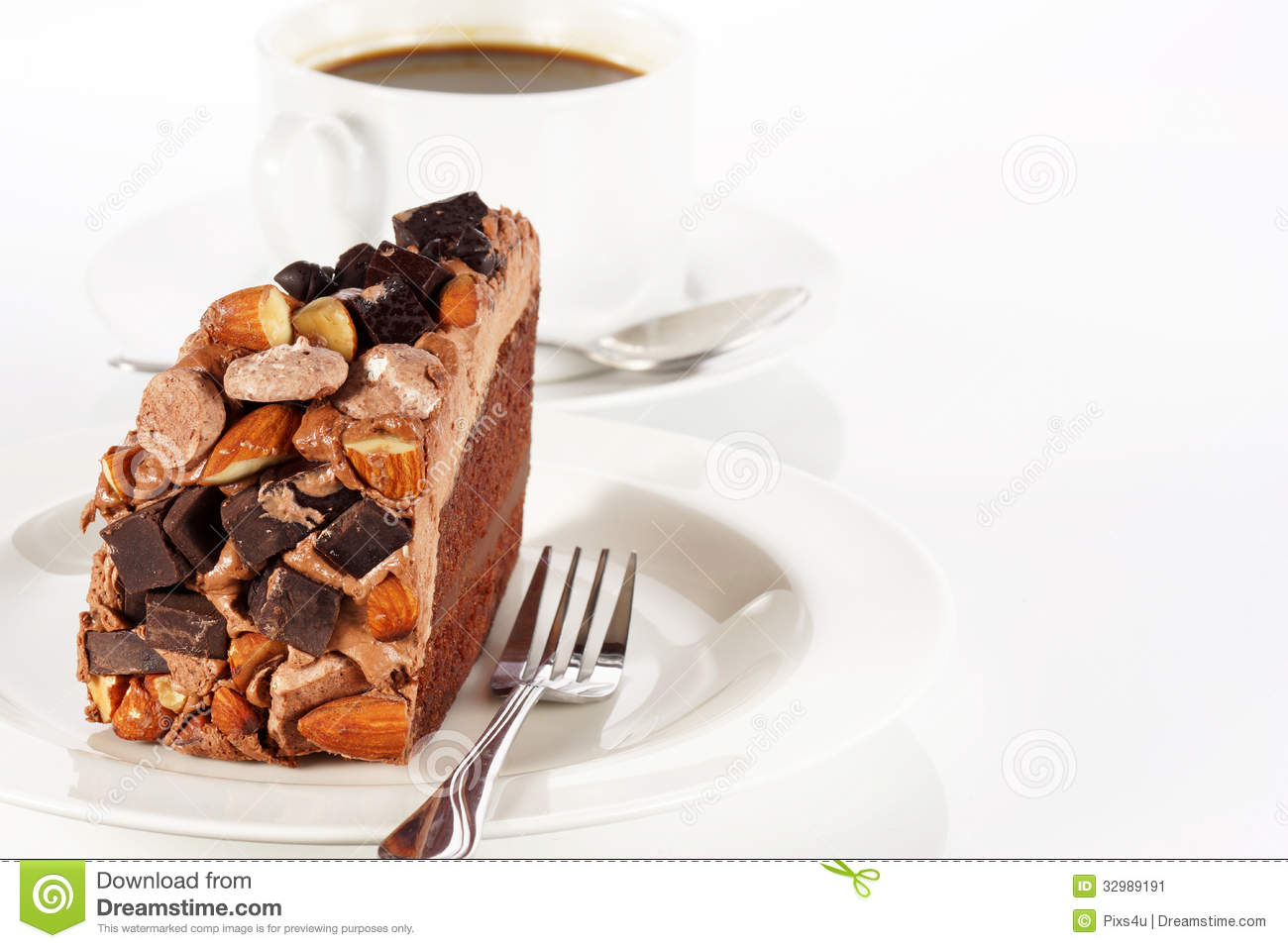 Nut Topping Chocolate Cake Design