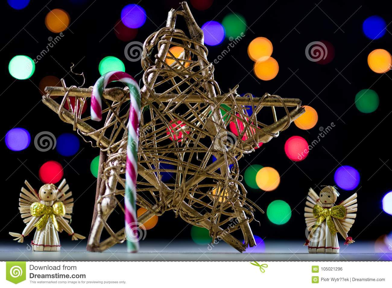 sweet christmas candy in the shape of a stick christmas candies for christmas background of christmas lights