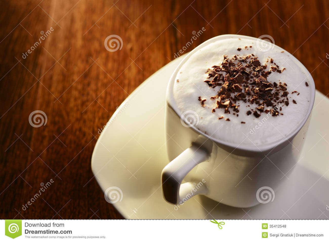 Sweet Coffee With Cream And Chocolate Flakes Royalty Free