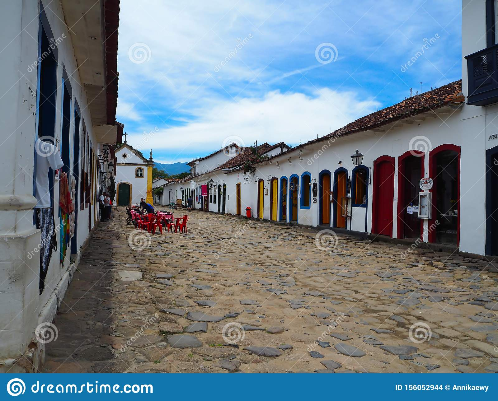Parati, Brasil - 23 December 2016: Sweet and colorful houses in colonial style with cobblestone floor in Parati, Brasil
