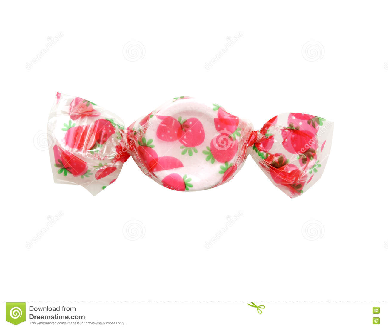 Sweet coloured strawberry candy isolated. clipping path.