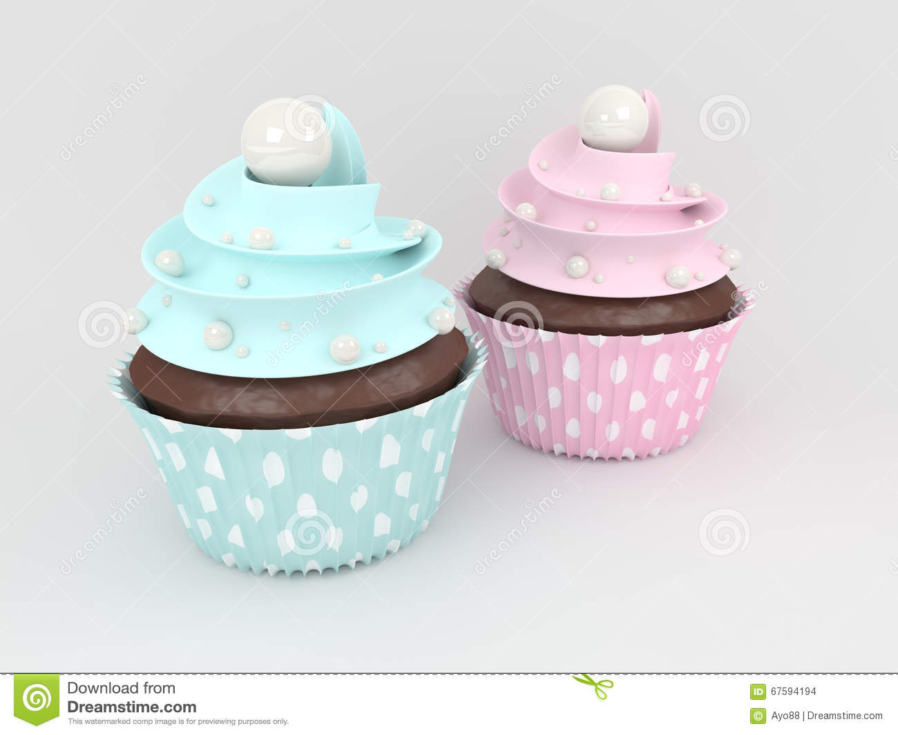 Sweet Cupcakes With Pearl Sweets On A Light Background ...