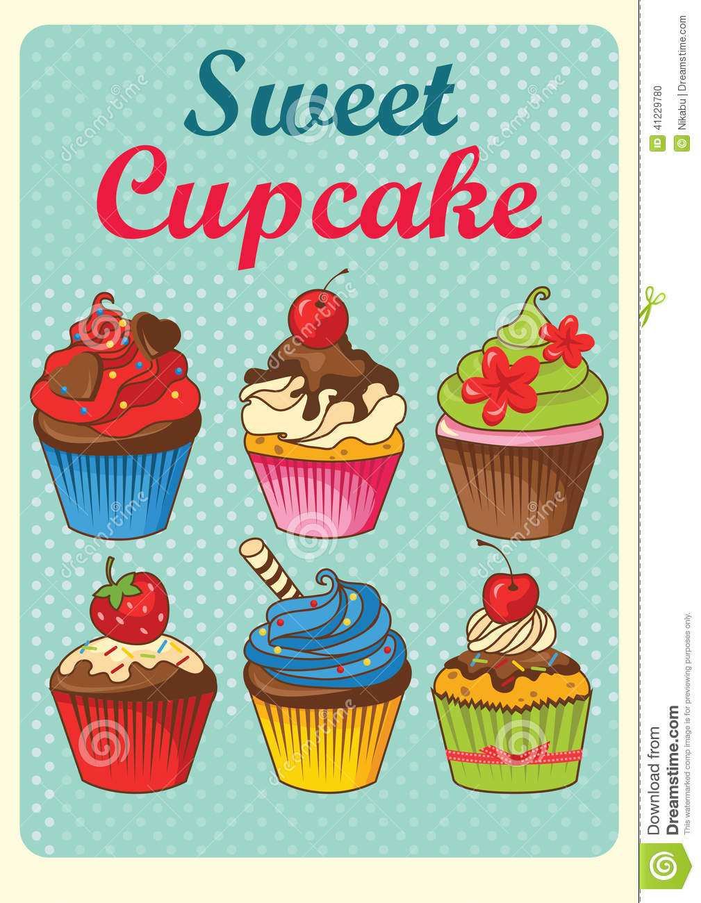 Sweet Cupcakes Vintage Style Stock Vector - Illustration of cake, heart: 41229780
