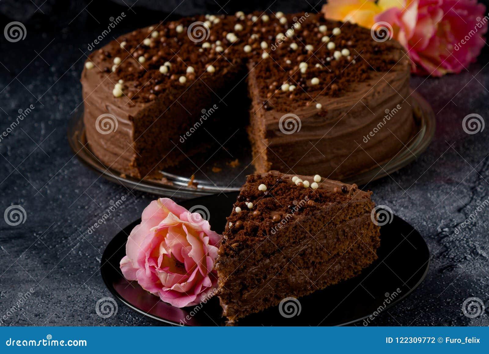 Dark Brown Chocolate Cake With Decoration Stock Photo Image Of