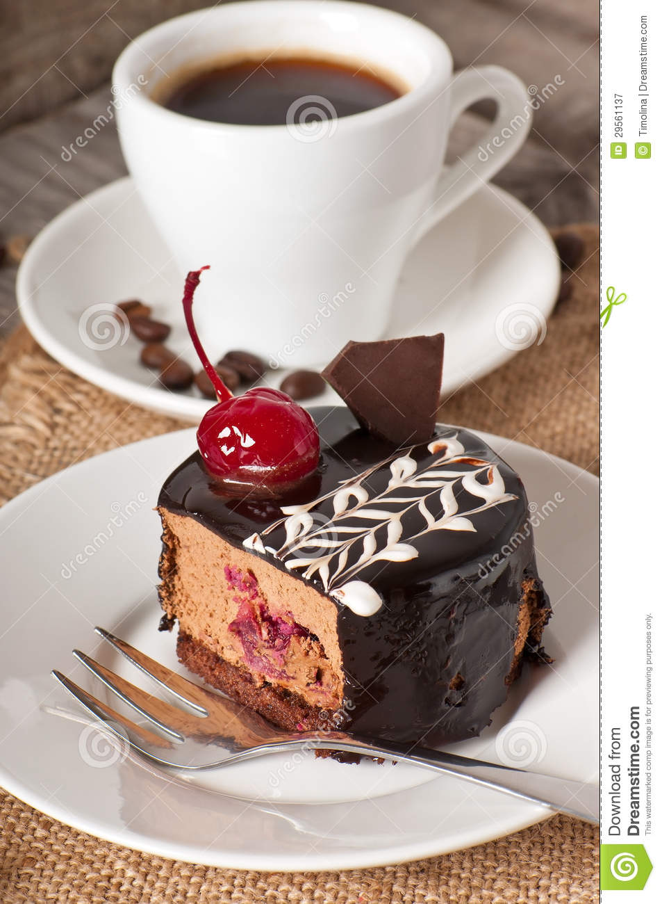 Sweet Dessert And A Cup Of Coffee Stock Image Image Of