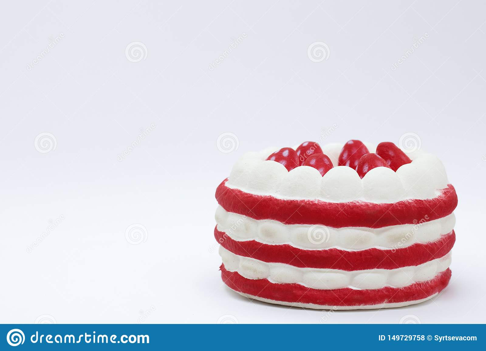Sweet dessert, with red and white layers in the corner of the photo. place for text.