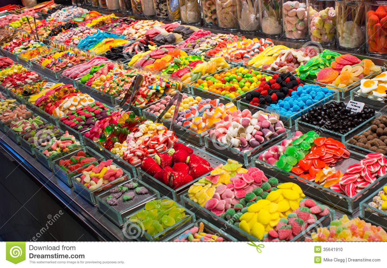 sweet display on a market in barcelona stock photo image of jars
