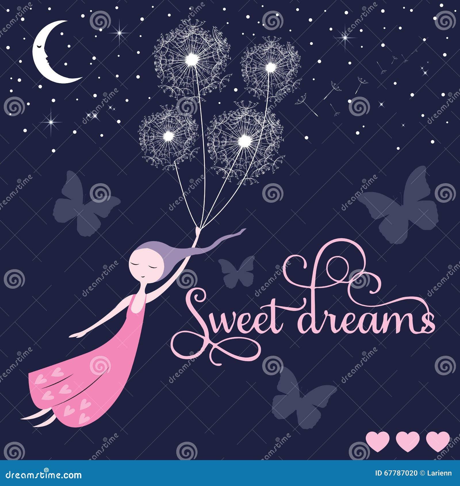 Sweet Dreams Girl Vector Stock Vector Illustration Of Dreams 67787020