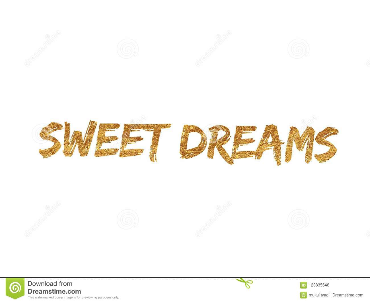 Sweet Dreams Golden Glitter Foil Hand Lettering Quote Stock