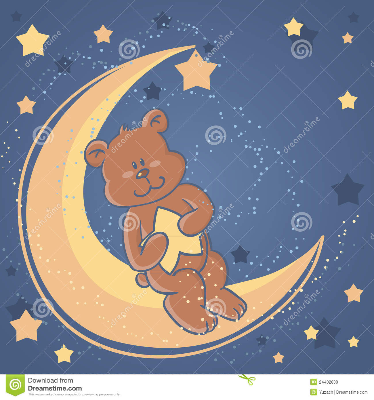 Download Sweet Dreams Teddy Bear On A Moon Stock Vector - Illustration of baby, dream: 24402808