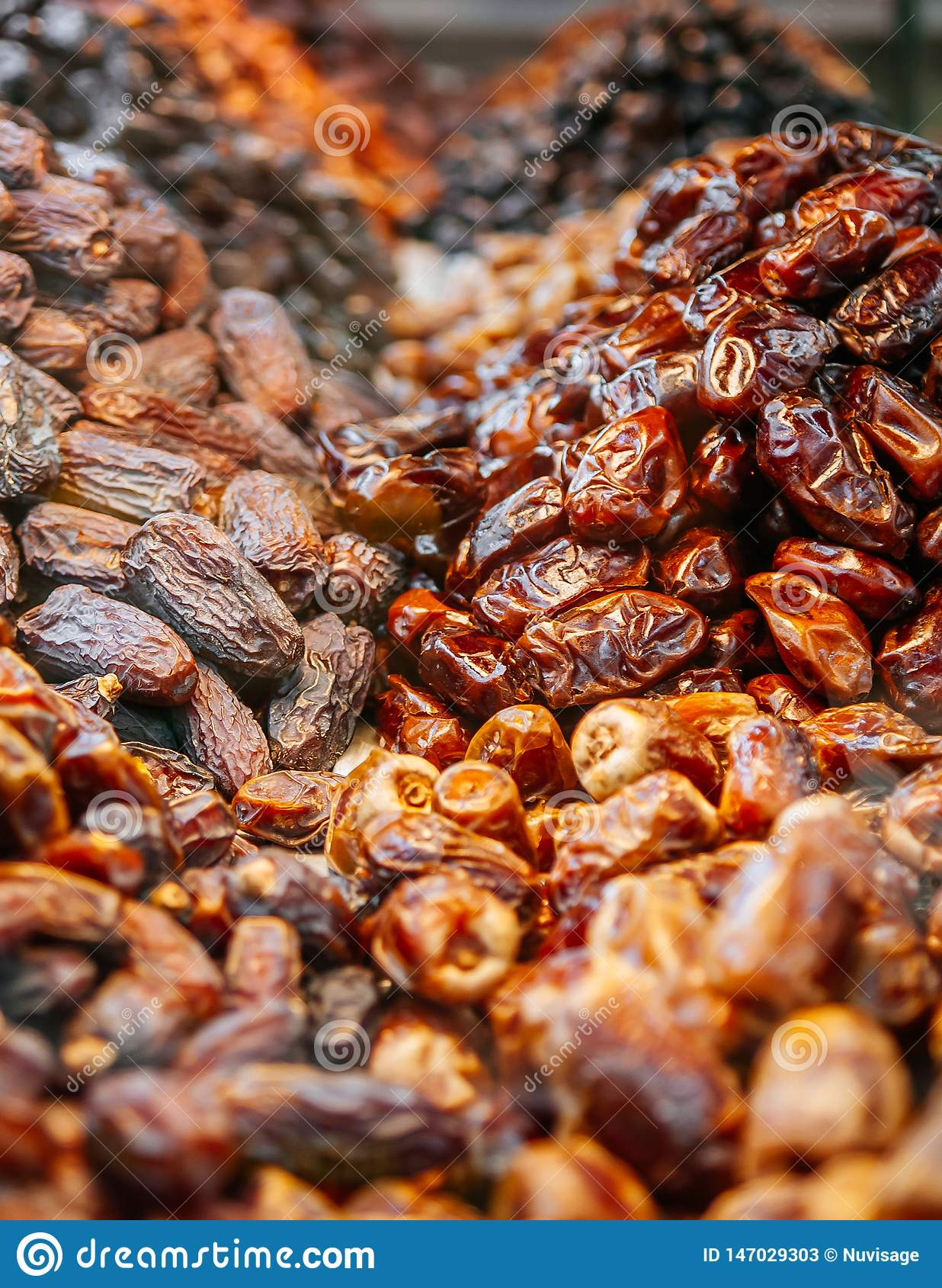 Sweet Dry Date Palm Fruit In Souk Or Market Abu Dhabi  UAE Stock