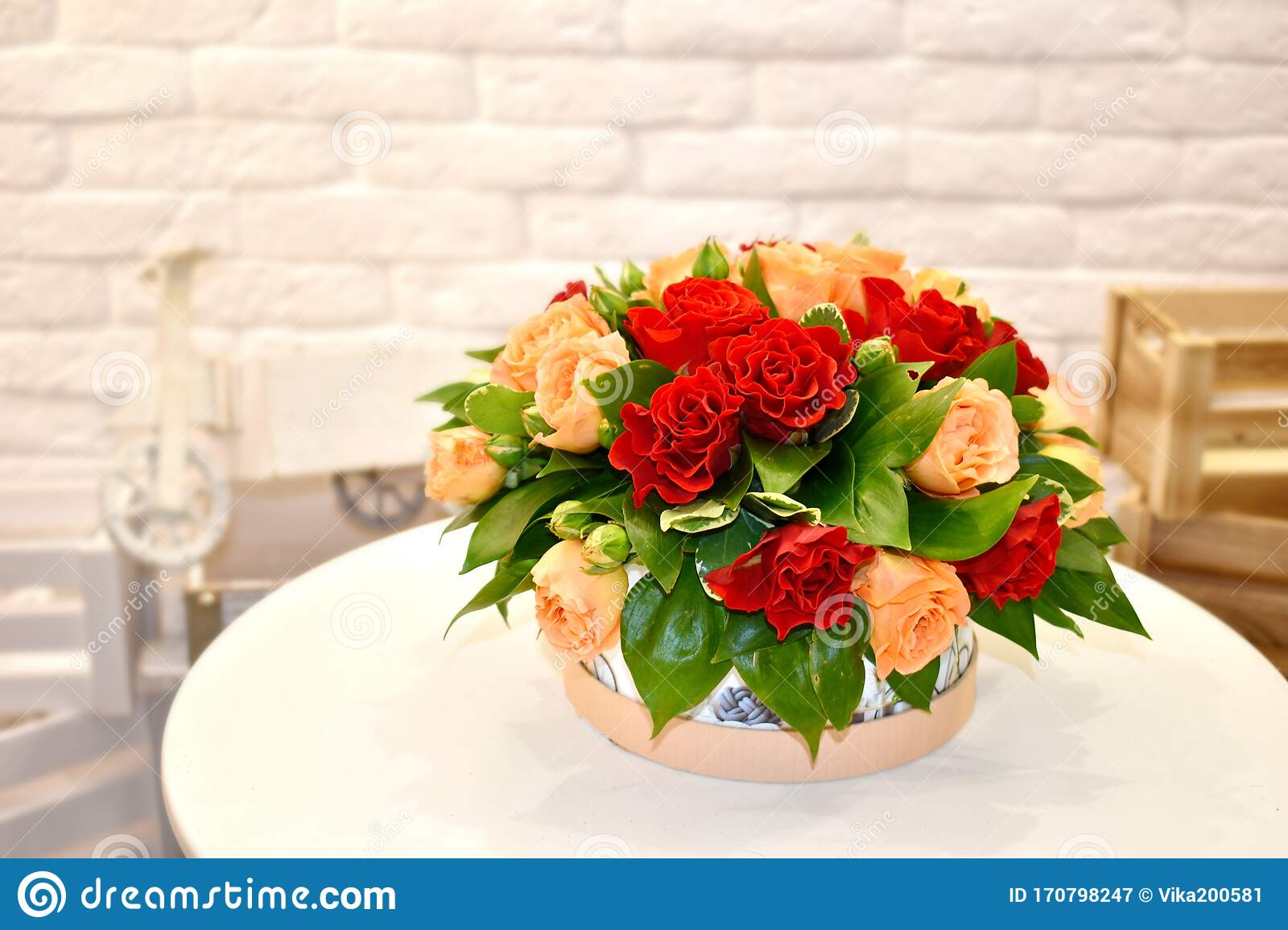 Sweet Flower Arrangement For Valentine S Day A Fragrant Bouquet Of Flowers On A White Table Stock Image Image Of Cashpo Decor 170798247