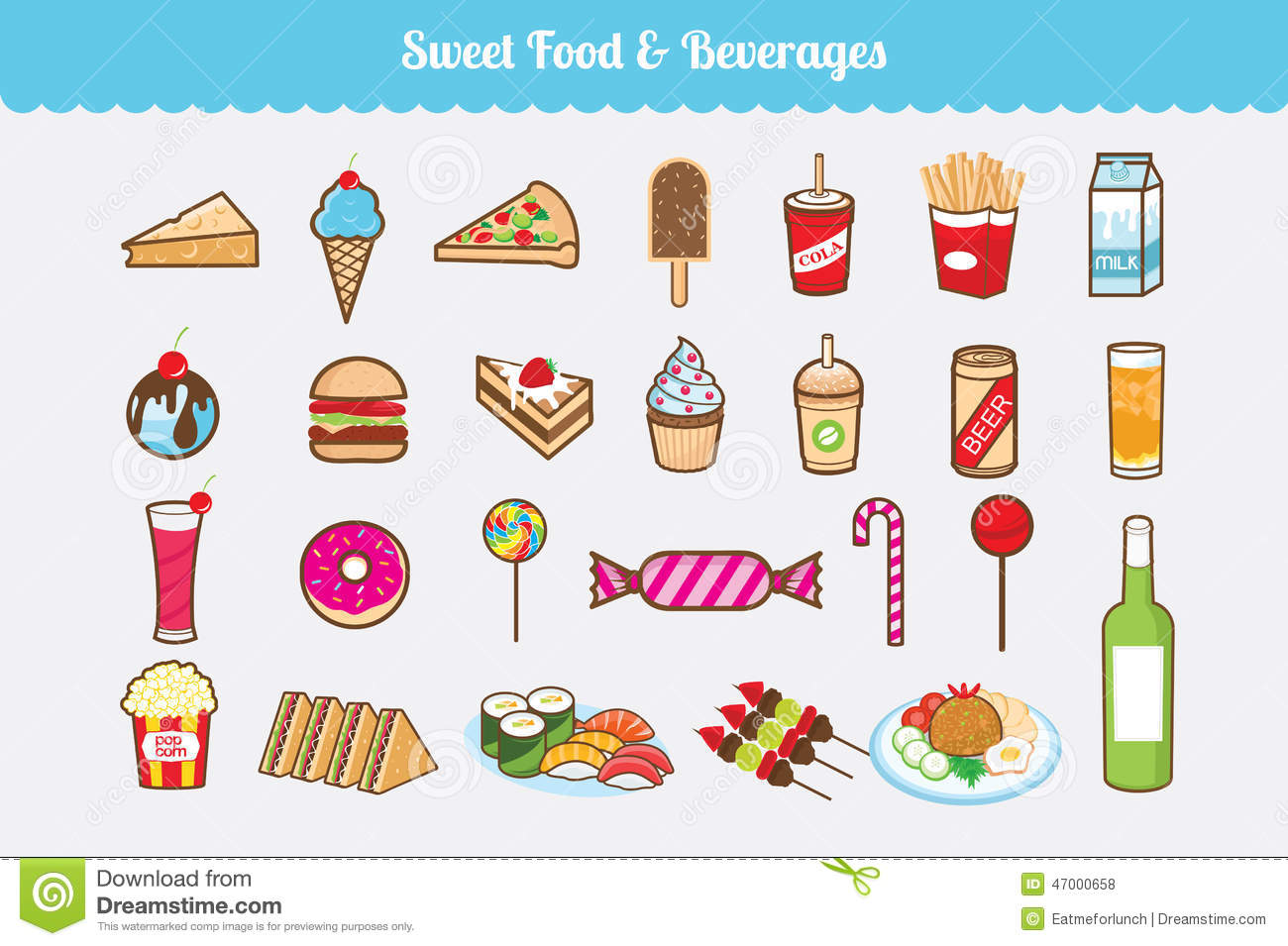Vector set of any kind of sweet food and beverages also some fast food ...