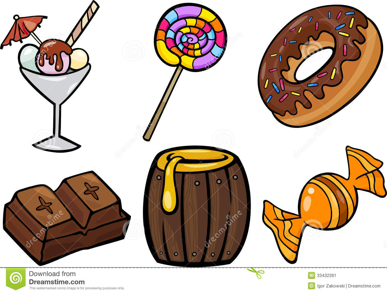 sweet food objects cartoon illustration set stock vector rh dreamstime com