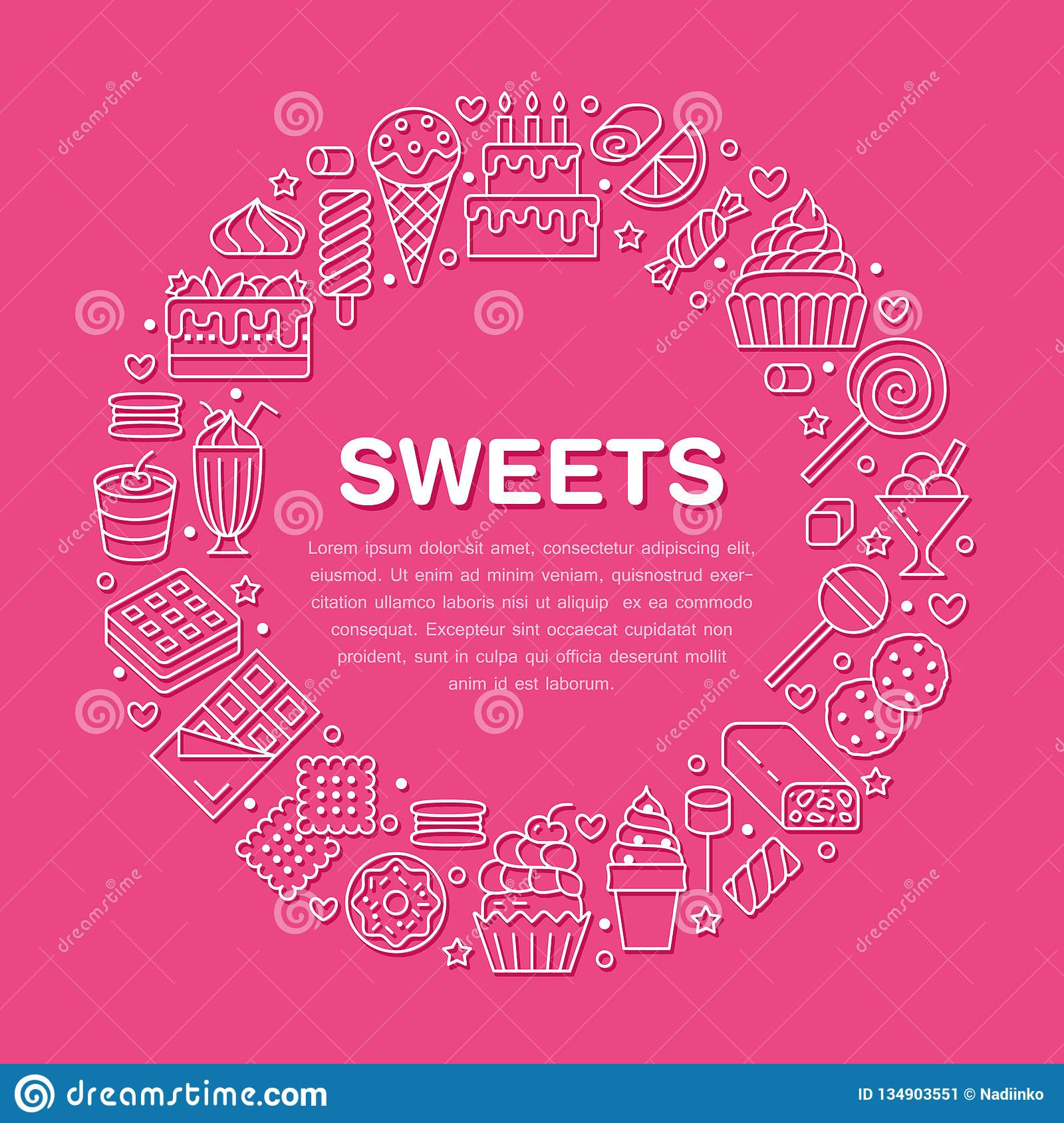 Sweet food round poster with flat line icons. Pastry vector illustrations - lollipop, chocolate bar, milkshake, cookie