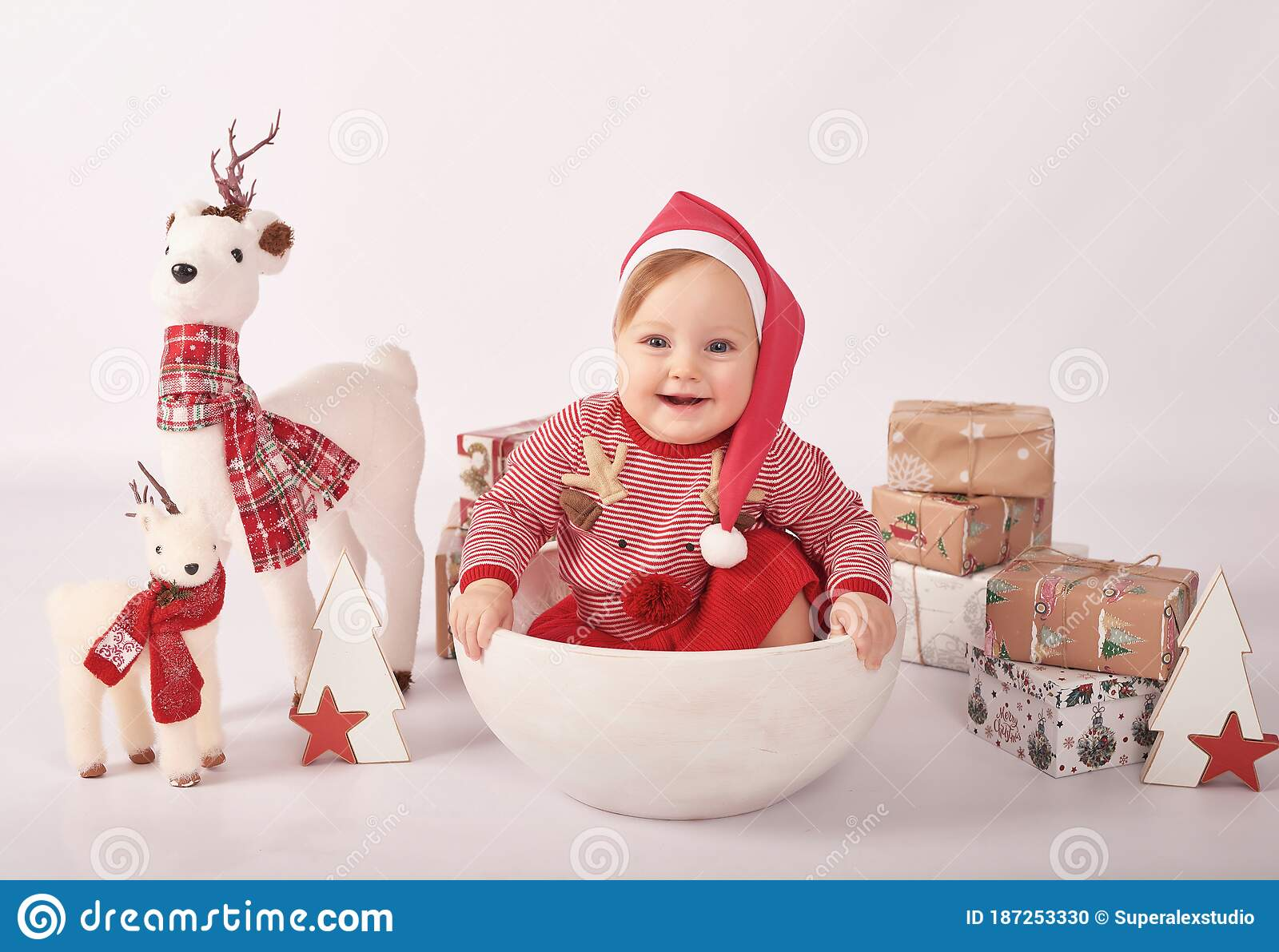 Sweet Funny Baby In Santa Hat. Christmas Greeting Card ...