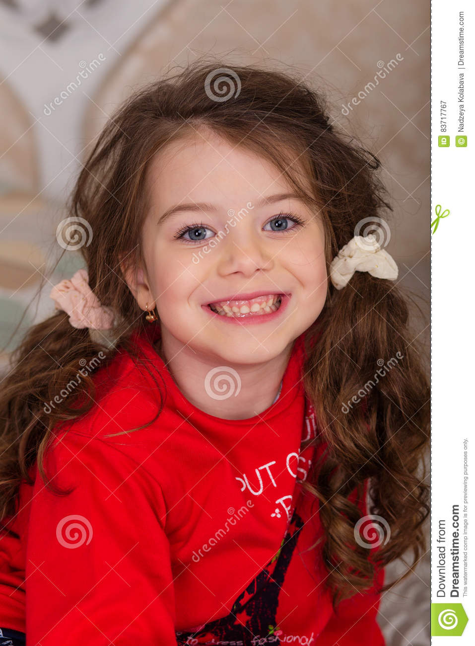 Sweet Girl In Pajamas Getting Ready For Bed Stock Photo