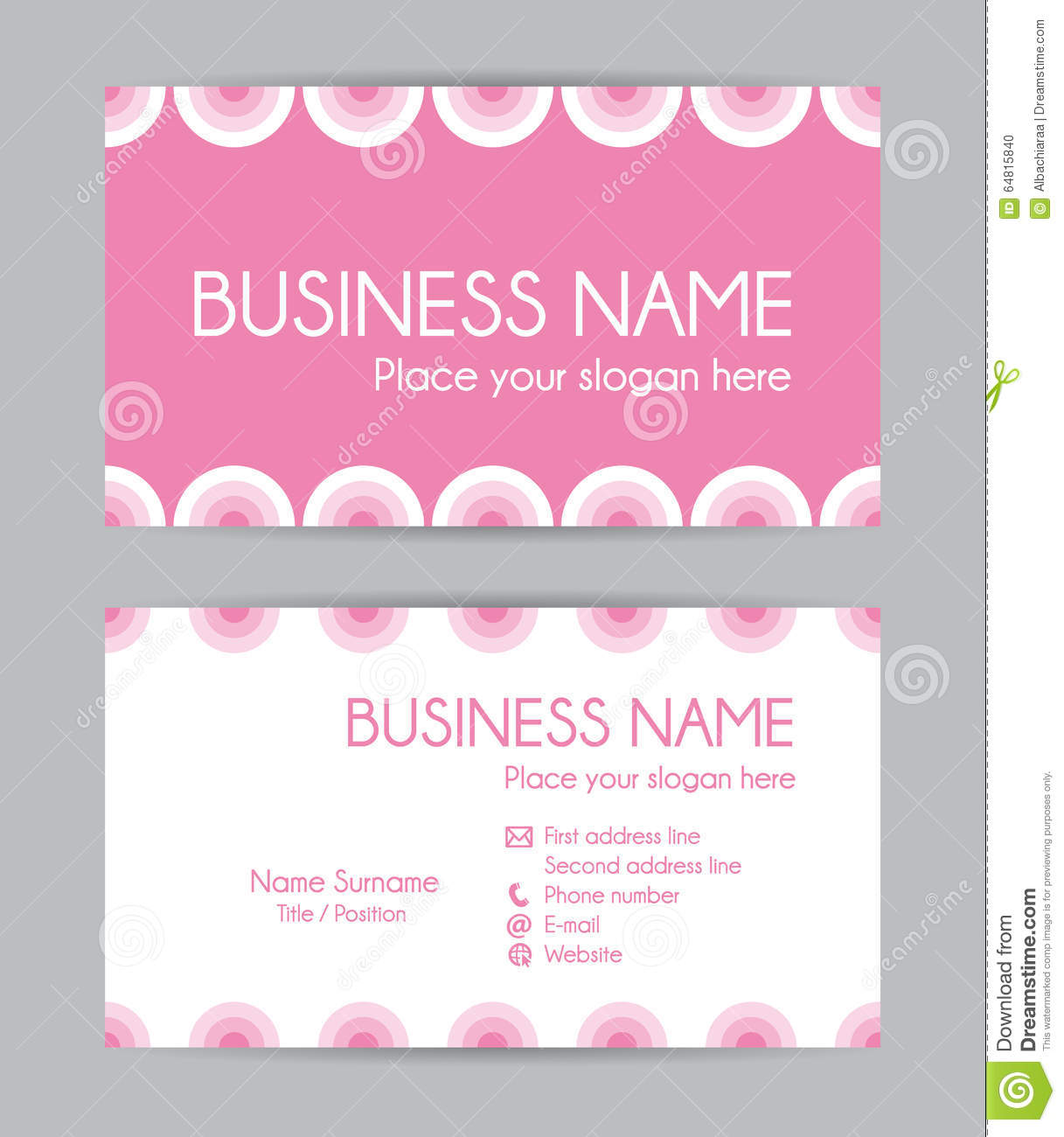 Sweet Graphic Business Card Design. Front And Back. Stock Vector ...