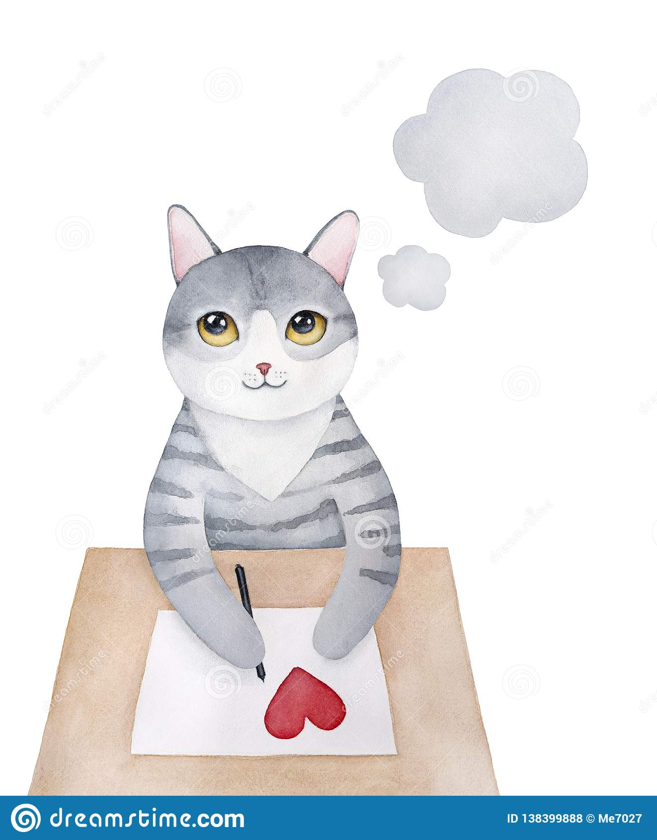 Sweet gray little kitty character writing love letter.
