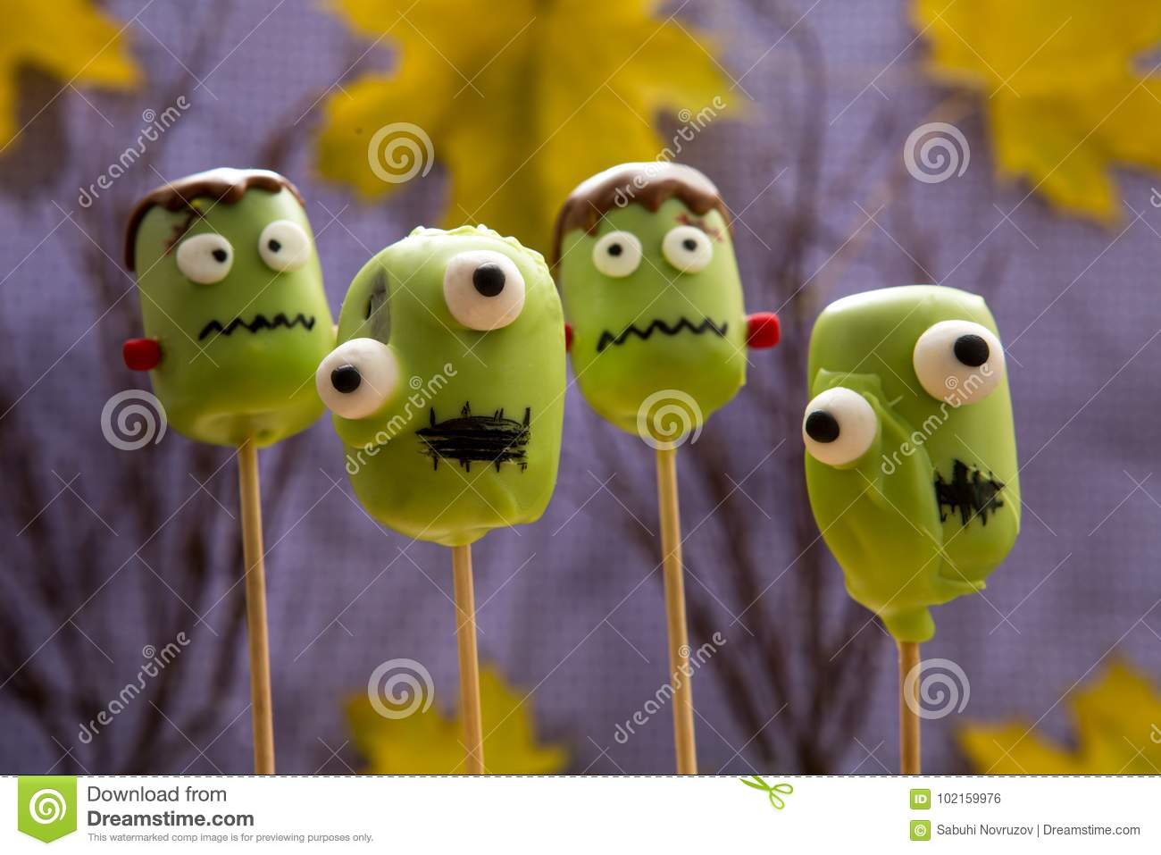 sweet halloween cake pops. stock photo. image of pumpkin - 102159976