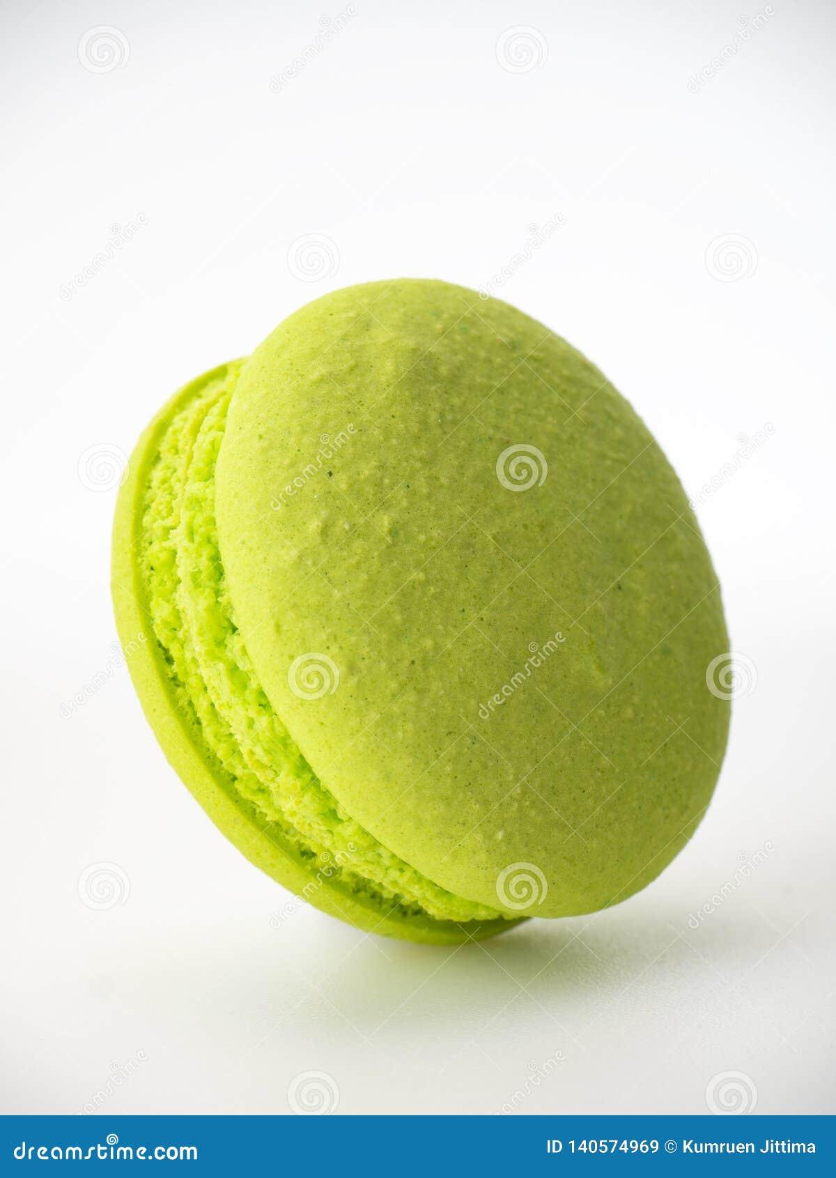Sweet hazelnut Green macarons on white