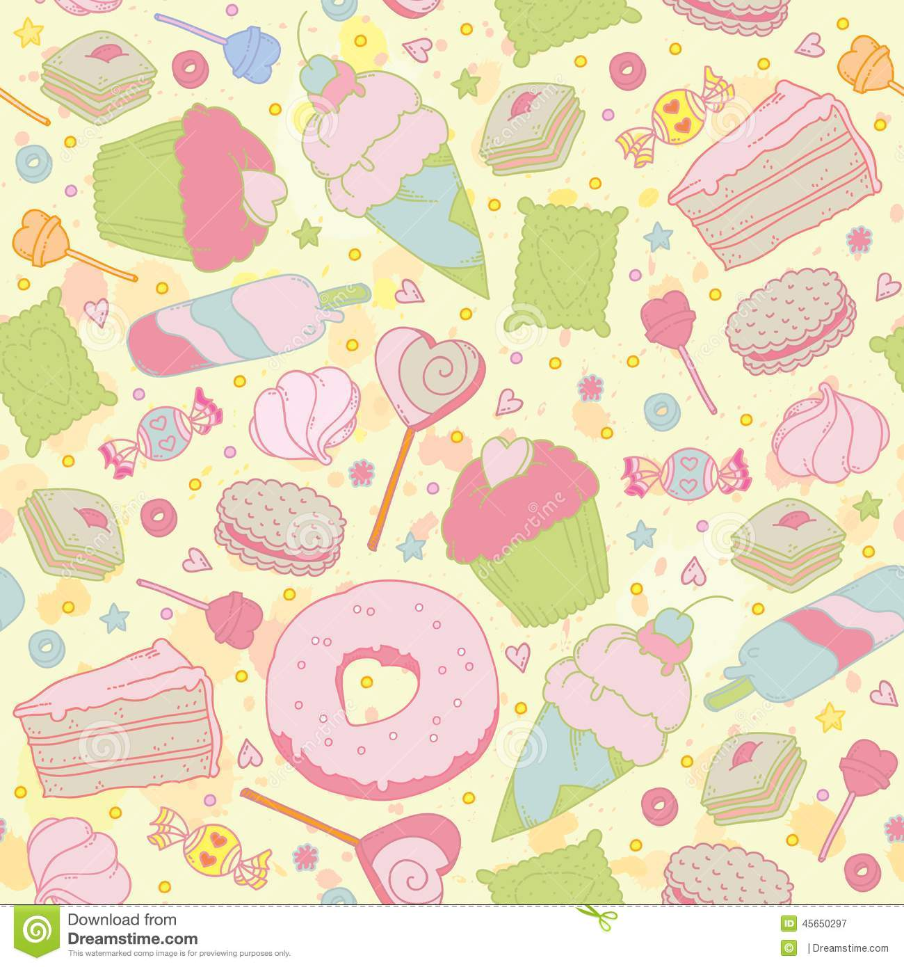 Sweet Heart Seamless Pattern - Sweets, Cupcakes, Stock Vector ...
