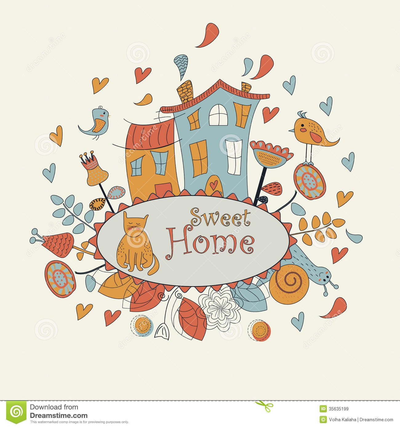 Small Cute House Plans Sweet Home Background Stock Vector Image Of Flourish