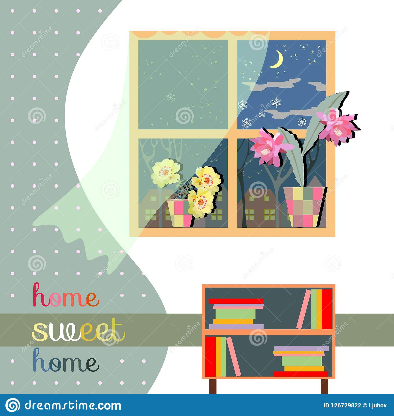 Sweet home. Cute card of interior with window with curtain and flowers, bookcase and polka dot wallpaper.  Royalty Free Illustration