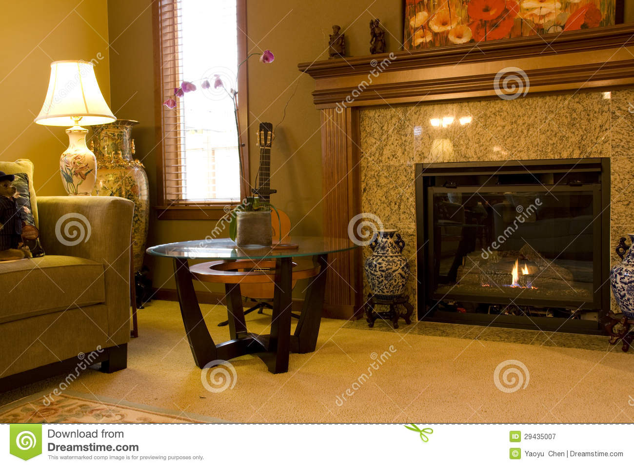 sweet home living room fireplace royalty free stock