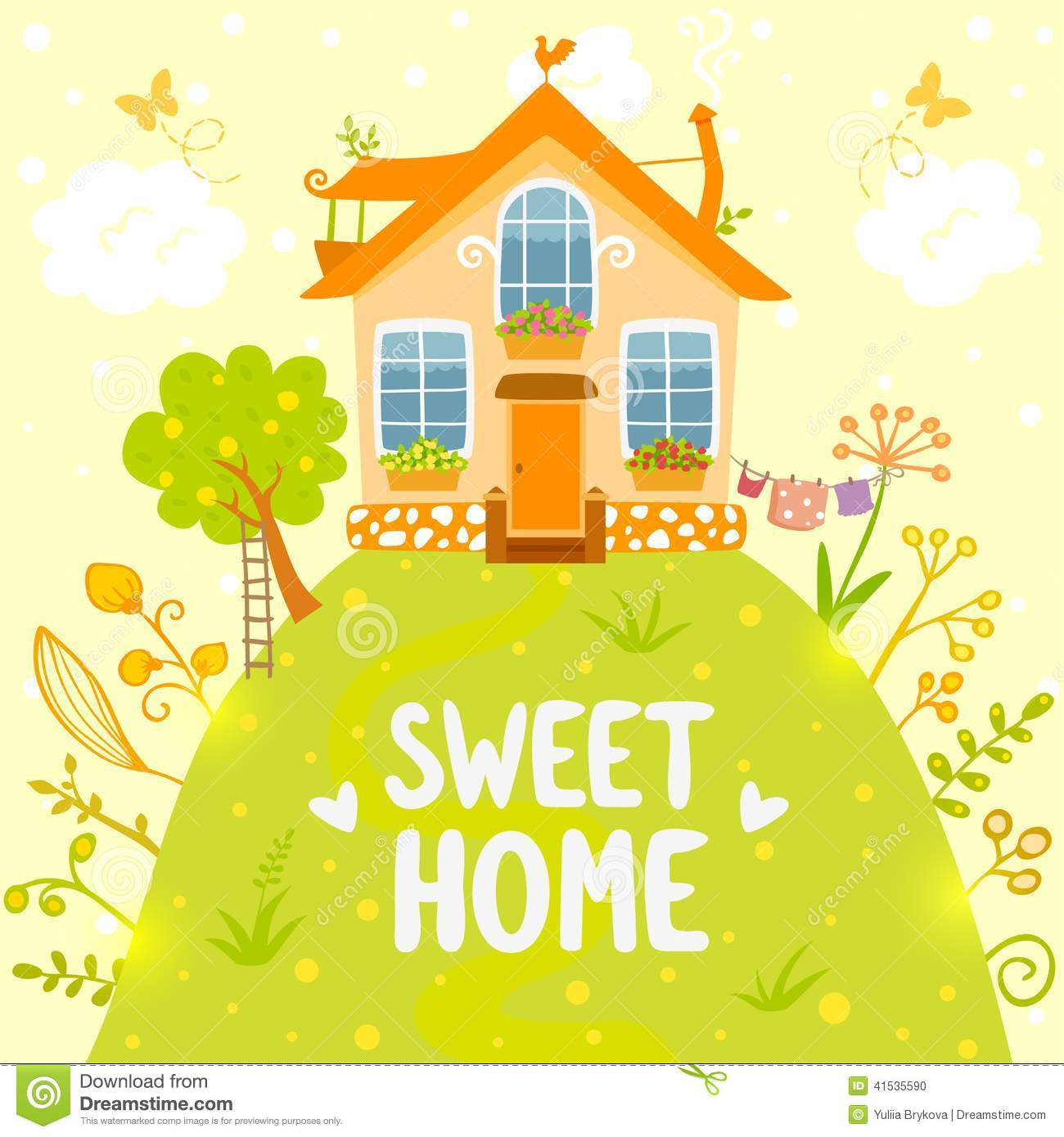 sweet home stylish card beautiful house hill cartoon style 41535590