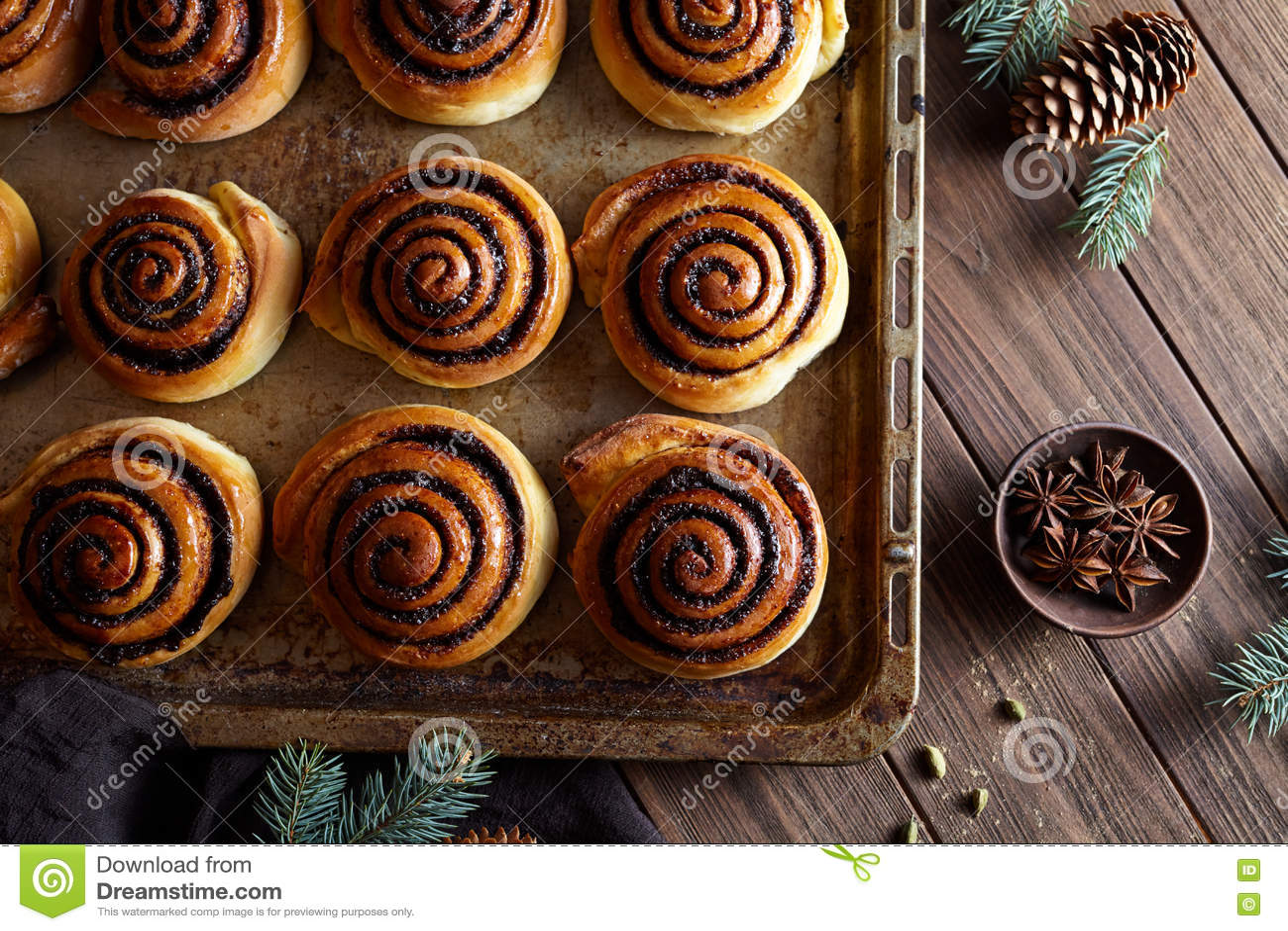 Swedish Christmas Bread.Sweet Homemade Christmas Baking Cinnamon Rolls Buns With Cocoa