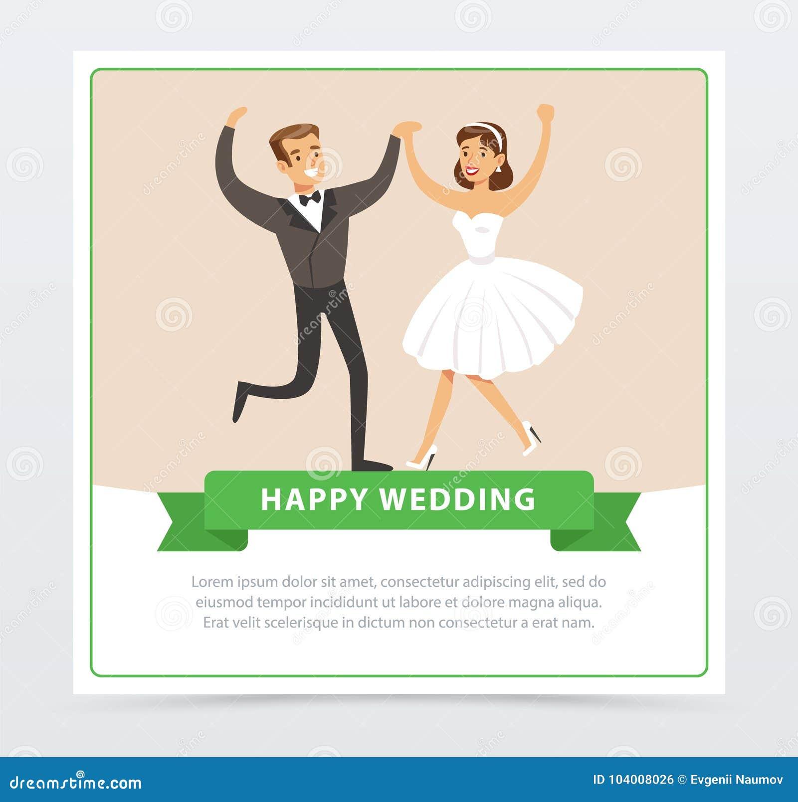 Sweet Just Married Couple Dancing, Happy Wedding Banner
