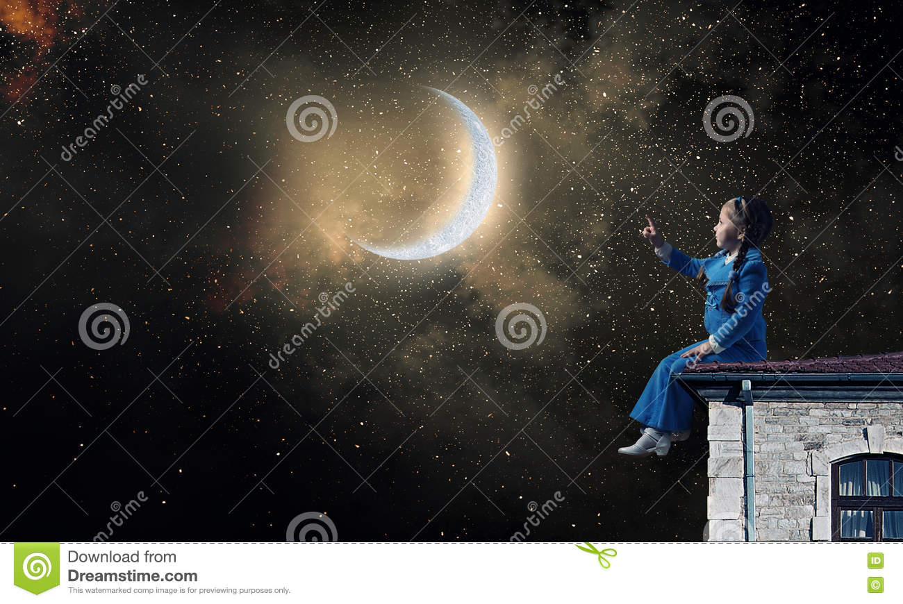 Kids at night with moon royalty free stock photography image - Royalty Free Stock Photo